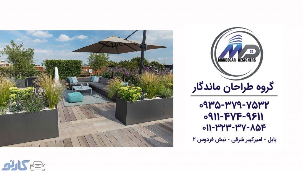 هزینه و قیمت طراحی و اجرای سقف روف گاردن در قائمشهر و ساری   گروه طراحان ماندگار